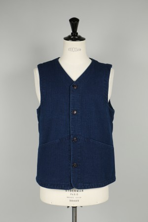 Blue Blue INDIGO QUILTED GAME VEST (700066545)
