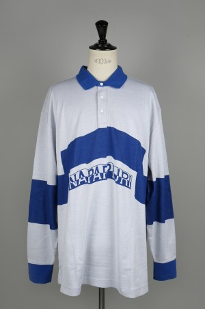 NAPA by Martine Rose EBRIUS L/S POLO WHITE/BLUE(N0YHHY)