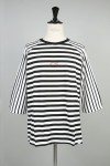 Magic Stick QUARTER SLEEVE STRIPES Tee BLACKxWHITE(18SS-M5-060)