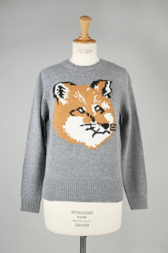 Maison Kitsune -Women- FOX HEAD PULLOVER -GREY MELANGE(KWM0864)