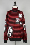Mind Seeker OVERSIZED STRIPED PATCHED TURTLE NECK SWEATER(MS-18AW-K01)