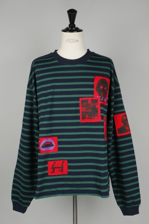 Mind Seeker STRIPED PATCHED OVERSIZED LONG SLEEVE T-SHIRT / GREEN(MS-18AW-T12)