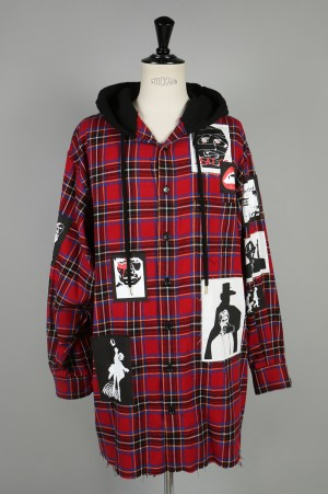 Mind Seeker OVERSIZED PATCHED HOODED PLAID FLANNEL SHIRT(MS-18AW-SH04)