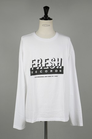 YSTRDY'S TMRRW FRESH RECORDS BAGGY L/S TEE - WHITE (YT-C0310)