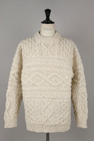Unused HAND KNIT CABLE SWEATER -OFF WHITE- (US1702)