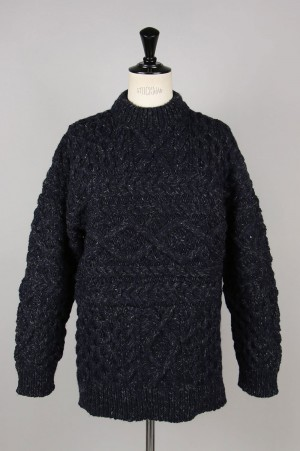 Unused HAND KNIT CABLE SWEATER -NAVY- (US1702)