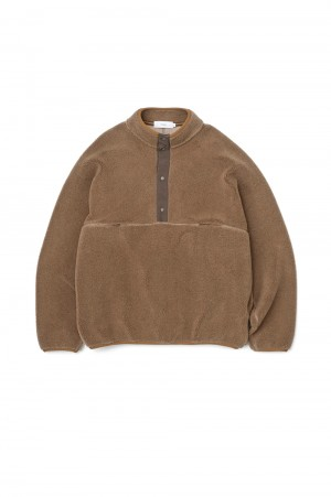 Graphpaper Wool Boa High Neck Pull Over - Camel (GU203-70165)