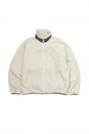 Graphpaper Wool Boa Zip-Up Blouson - White (GU203-70166)