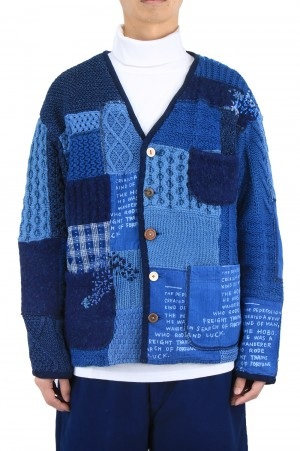 Porter Classic H/W PATCHWORK KNIT CARDIGAN / BLUE (PC-020-1213)