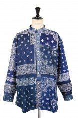 Children Of The Discordance VINTAGE BANDANA PATCHWORK SHIRT LS - NAVY 2 (COTDSH-112)