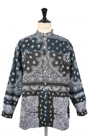 Children Of The Discordance VINTAGE BANDANA PATCHWORK SHIRT LS - BLACK 1 (COTDSH-112)