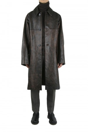 Dairiku Pinup Girl Leather Long Coat (20AW O-3)