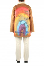 doublet MESSAGE HAND-PAINTED MOUTON COAT (20AW03BL105)