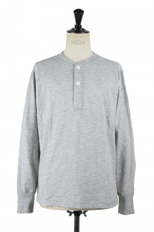 Healthknit #51001 MAX WEIGHT SLAB JERSEY HENLEY L/S - GREY (700084702)