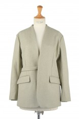 pelleq collarless jacket -sage (JK0504-AW20)