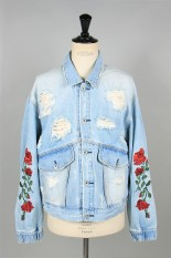 LEGENDA The Fact Rose Embroidery Denim Blouson-INDIGO(LEJ223)