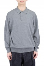 Graphpaper Suvin Oversized L/S Polo - C.GRAY (GM211-80038B)
