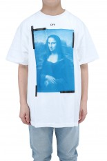 Off-White BLUE MONALISA S/S OVER TEE/WHITE(OMAR21-031)