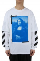 Off-White BLUE MONAL DOUBLE SLEEVE TEE(OMAR21-067)