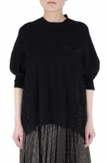 sacai -Women- Embroidery Lace Knit Pulover -Black (21-05469)