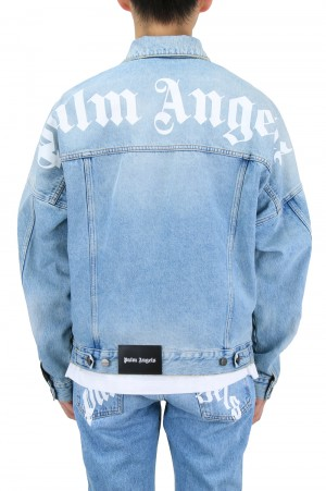Palm Angels LOGO OVER DENIM JKT / LIGHT BLUE(PMYE006R21DEN0014001)