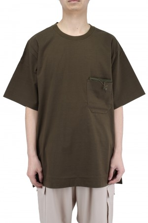 Y-3 M CLASSIC PAPER JERSEY POCKET TEE / KHAKI (GV4245)