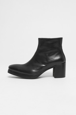 LEGENDA Leather Heel Short Boots -BLACK (LSH034)