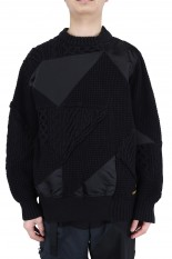 sacai -Men- Hank Willis Thomas / Solid Mix Knit Pullover/BLACK(21-02452M)