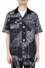 sacai -Men- Hank Willis Thomas / Archive Print Mix Shirt/BLACK NAVY MULTI(21-02467M)