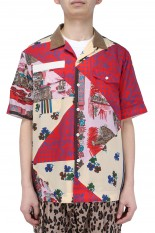 sacai -Men- Hank Willis Thomas / Archive Print Mix Shirt/RED MULTI(21-02467M)