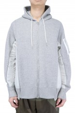 sacai -Men- Sponge Sweat x MA-1 Hoodie/L/Gray×L/Gray(SCM-036)