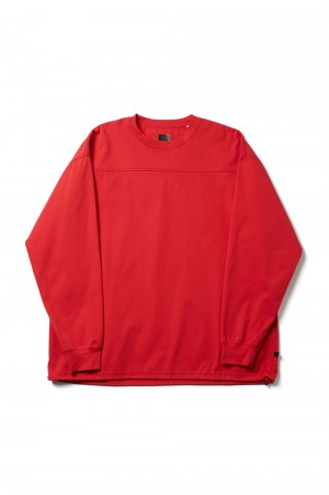 DAIWA PIER39 Tech Football Tee L/S - RED (BE-35021)