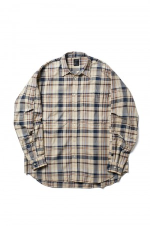 DAIWA PIER39 Tech Work Shirts Frannel Plaids - BEIGE (BE-89021)