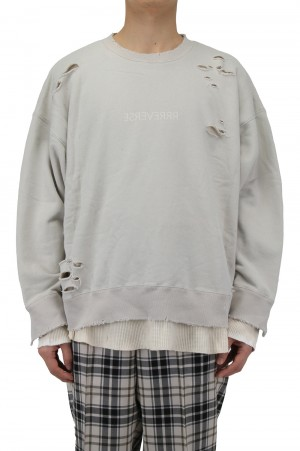 Stein -Men- OVERSIZED LAYERED SWEAT LS -GREIGE-( ST.239 )