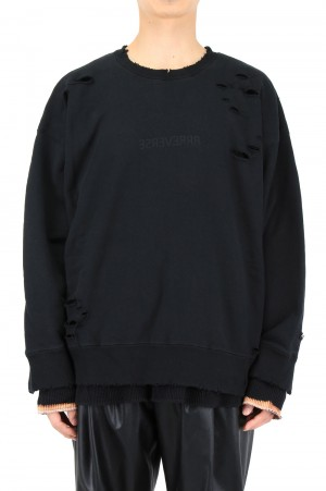 Stein -Men- OVERSIZED LAYERED SWEAT LS-BLACK- ( ST.239 )