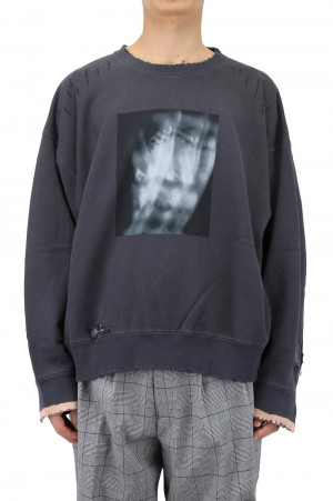 Stein -Men- OVERSIZED REBUILD SWEAT LS-CHARCOAL- ( ST.238)