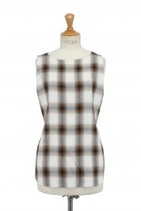 Pheeny Rayon ombre check sleeveless shirt-BROWN(PS21-SH06)