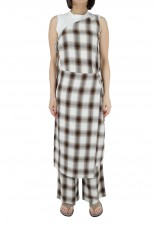 Pheeny Rayon ombre check apron dress-BROWN(PS21-OP05)