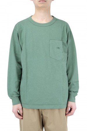 The North Face Purple Label - Men - 7oz L/S Pocket Tee - Grass Green (NT3102N)