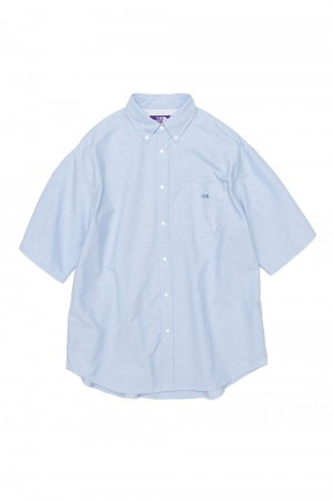 The North Face Purple Label - Men - Cotton Polyester OX B.D. Big H/S Shirt - Sax (NT3110N)