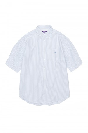 The North Face Purple Label - Men - Stripe OX B.D. Big H/S Shirt - Sax (NT3111N)