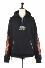 LEGENDA Fire&Rose Embroidery Hoodie -BLACK(LEC957)