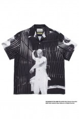 Wackomaria THE SILENCE OF THE LAMBS / S/S HAWAIIAN SHIRT ( TYPE-2 ) / BLACK-WHITE (SOL-WM-HI02)