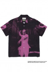 Wackomaria THE SILENCE OF THE LAMBS / S/S HAWAIIAN SHIRT ( TYPE-2 ) / BLACK-PURPLE (SOL-WM-HI02)