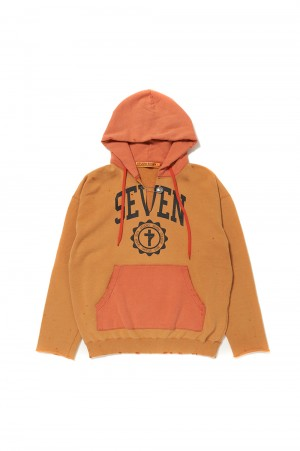 Studio Seven Cut-Off Overdyed Hoodie/Orange(70864400)