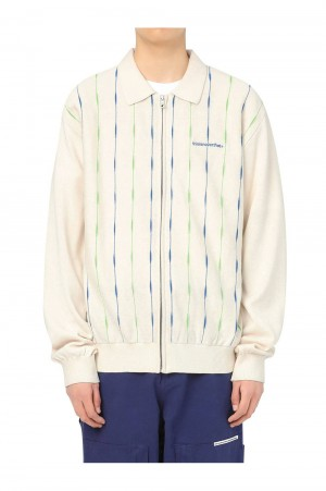 Thisisneverthat T-Logo Zip-Up Polo / Ivory(TN21SKW001)