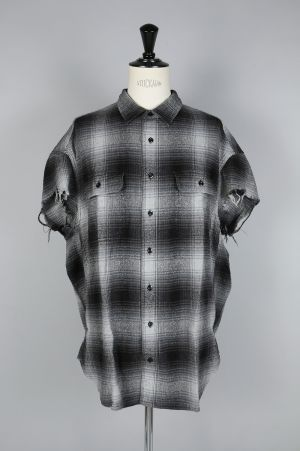 R13 OVERSIZED CUT OFF SHIRT/GREY PLAID(R13M3526-10)