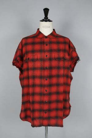 R13 OVERSIZED CUT OFF SHIRT/RED PLAID(R13M3527-05)