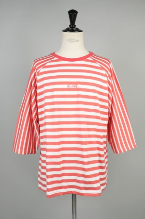 Magic Stick QUARTER SLEEVE STRIPES Tee PINKxWHITE(18SS-M5-060)