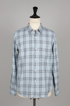 Ron Herman -Men- Open Collar Checked shirt-BLUE-(2920700044-RHC-19SM-009)